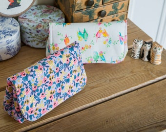 Notions pouch, large enough to hold all your crafting essentials when on the move, or perfect as a pretty glasses case, in two prints
