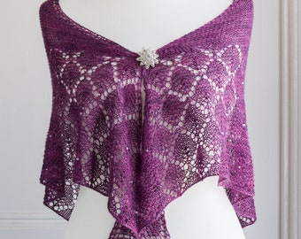 Lace shawl, hand knit in mulberry silk in a triangular shape with a deep diamond lace panel; perfect as a light cover to a dressy outfit