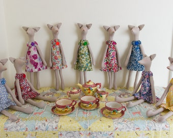 Tilda doll - Tilda style Fox figures in Liberty Tana Lawn dresses, based on characters from Jane Austen's novels