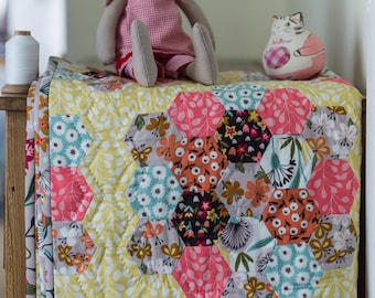 Heirloom quilt - this is Grandma's Suffolk Garden crib or lap quilt - a fine hand stitched heirloom hexagon English Paper Pieced quilt