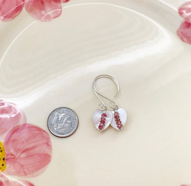 Sterling Silver Vintage  Mother of Pearl Heart Button Earrings with Pink Tourmaline Beads