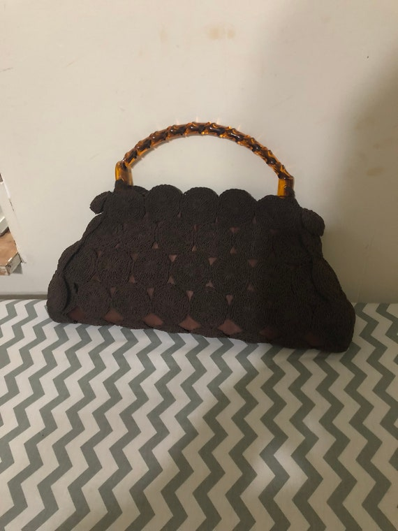 1950's Brown crochet purse with Lucite handle