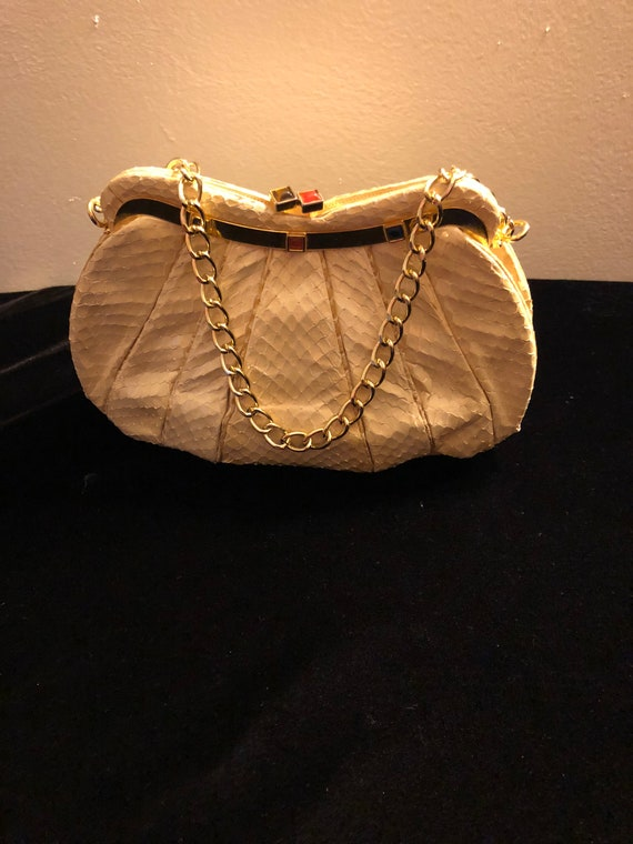 Judith Leiber Cream Snakeskin Purse
