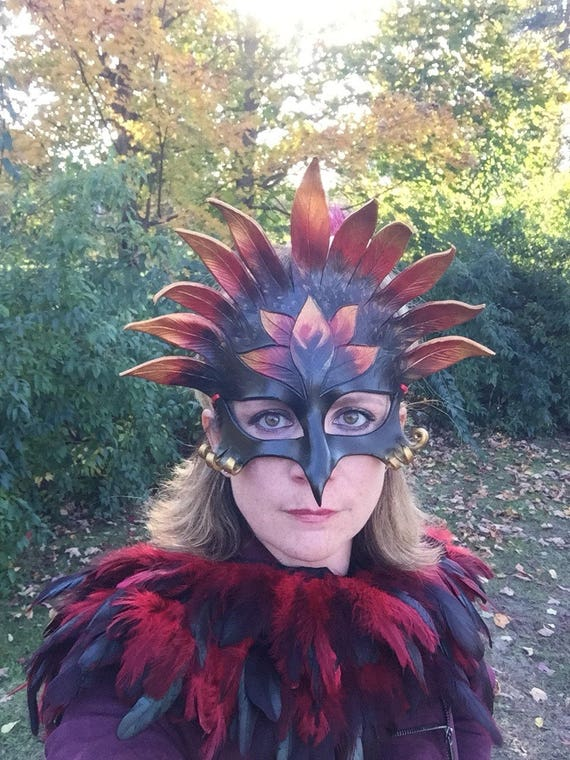 Night phoenix gryphon leather mask dragon custom order in your choice of colour