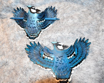 Blue jay leather hair stick or french clip - corvidae hair stick blue jay