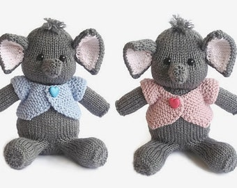 Hand knitted animal elephant baby boy birthday gift elephant doll elephant soft toy handmade knit stuffed animal knitted toy elephant ready