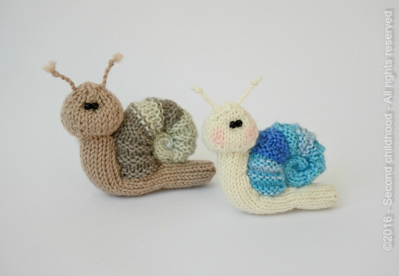 Snail toy knitting pattern knitted snail PDF pattern ...