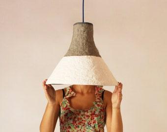 Paper mache lamp Cypisek,  lamp, pendant light, hanging lamp, pendant lamp, white, paper lamp, industrial lamp, paper pulp lamp, eco