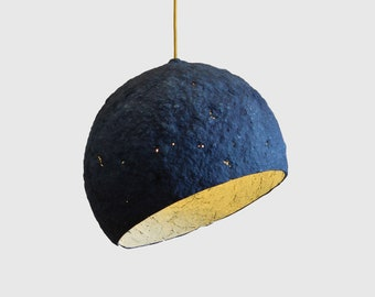 Pendant Light, Paper Lamp, Paper Mache Lamp, Dining Room Lighting, Pendant Lamp, Industrial Lamp, Paper Lamp Shade, Pulp Lamp, Blue, Pluto