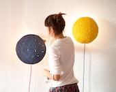 Wall Sconce Lamp from Paper Mache, Nursery Night Light - Eclipse Medium Blue