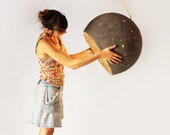 Moon Lamp, Industrial Light made from Paper Mache, Big Industrial Pendant Light, Hanging Lamp for Loft - Luna
