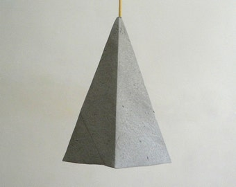 Geometric Lamp Paper Pendant Lamp Paper Lamp Shade Hanging Lamp Ceiling Light Modern Lamp Minimalist Lamp Paper Mache Lamp Alum Grey