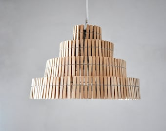 Pendant light, hanging lamp, Clips II, clips lamp, lamp, clothe pegs lamp, pendant lamp, industrial lamp, industrial, eco friendly, wooden