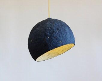 Paper mache lamp Pluto,  lamp, pendant light, hanging lamp, pendant lamp, paper lamp, industrial lamp, paper pulp lamp, eco friendly, blue