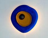 Wall Sconce Lamp from Paper Mache, Organic Shape Light - Ultramarine Blue