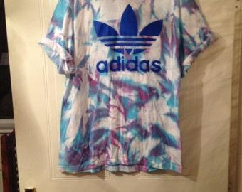 f83d55467a8 unisex customised acid wash tie dye adidas t shirt sz medium festival  fashion ibiza. mysticclothing