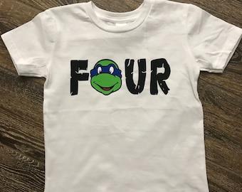 "Ninja Turtle ""Four"" Birthday Shirt"