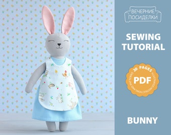 PDF Bunny Doll with Clothes Sewing Pattern — DIY Animal Rag Doll 7a11744d3