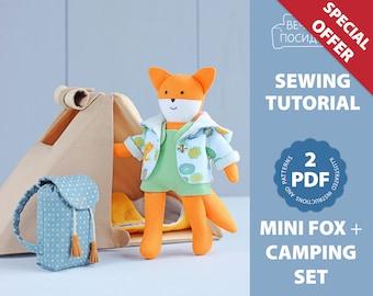 2 PDF: Mini Fox + Camping Set for Mini Doll (Camping Tent, Backpack, Sleeping Bag) Sewing Pattern — DIY Animal Stuffed Doll, Play Set