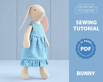 PDF Bunny Sewing Pattern & Tutorial — DIY Animal Rag Doll, Soft / Stuffed Toy, Bunny pattern, Bunny Doll with Clothes, Bunny Dress up Doll