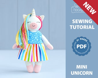 PDF Mini Unicorn Sewing Pattern — DIY Animal Stuffed Rag Doll, Soft Toy, Dress up Doll, Unicorn with Clothing, Pocket Doll with Outfit