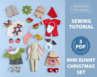 3 PDF: 24 pieces Christmas Set (Mini Bunny Doll with Clothes) Sewing Pattern — Advent Calendar, Animal Stuffed Doll, Soft Toy, Dress up Doll