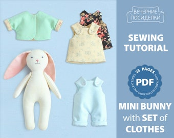 PDF Mini Bunny with Set of Clothes Sewing Pattern — DIY Animal Stuffed Rag Doll, Soft Toy, Dress up Doll, Pocket Doll with Outfit, Play Set