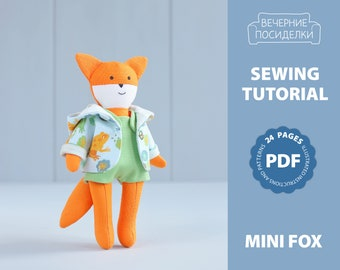 PDF Mini Fox Sewing Pattern — DIY Animal Stuffed Rag Doll, Soft Toy, Dress up Doll, Fox with Clothing, Pocket Doll with Outfit, Play Set