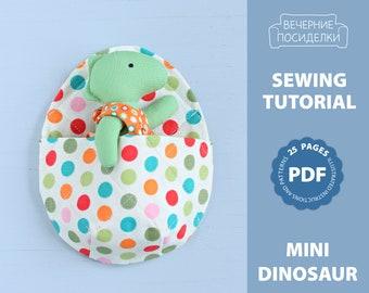 PDF Mini Dinosaur with Egg-shaped Sleeping Bag Sewing Pattern — DIY Play Set, Animal Stuffed Rag Doll, Soft Toy, Dinosaur Doll with Clothes