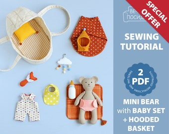 2 PDF: Mini Bear with Baby Set + Hooded Basket for Mini Doll Sewing Pattern — DIY Animal Stuffed Doll, Soft Toy, Dress up Doll, Bear Doll