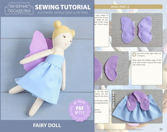 PDF Fairy Sewing Pattern & Tutorial — DIY Cloth Doll, Rag Doll with  Clothes, Soft / Stuffed Toy, Fairy Tale Themed Nursery Decor