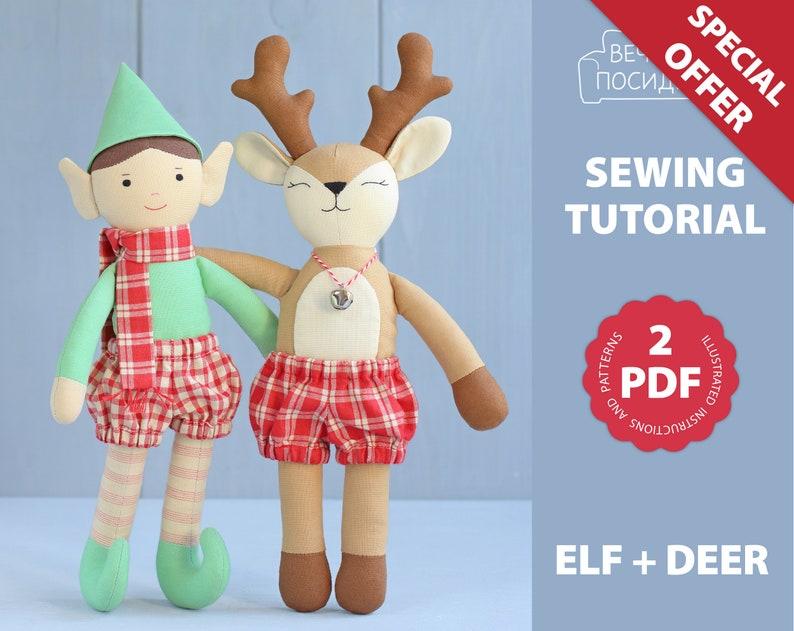 Sewing Pattern /& Tutorial \u2014 Rag Doll or Christmas Decoration Christmas Doll 2 PDF: Elf Reindeer Deer DIY Christmas Gift Animal Doll