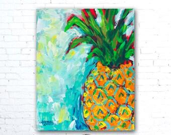Pineapple Print, Hawaiian Decor, Pineapple Wall Art, Hawaiian Gifts, Pineapple Decor, Fruit Decor, Kitchen Decor, Tropical Wall Art