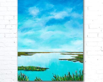 Abstract Coastal Art, Blue Water Painting, Colorful Landscape Painting, Colorful Wall Art, Coastal Decor, Marsh Painting, Blue Sky Painting