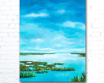 Blue Sky Painting, Colorful Landscape Painting, Colorful Wall Art, Coastal Art Print, Coastal Decor, Marsh Painting, Blue Water Painting