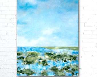 Colorful Landscape Painting, Colorful Wall Art, Coastal Landscape Painting, Coastal Decor, Marsh Painting, Home Decor, Blue Sky Painting