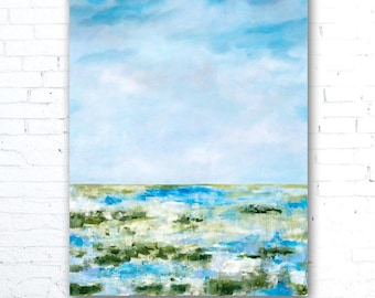 Blue Sky Painting, Colorful Landscape Painting, Colorful Wall Art, Coastal Landscape Painting, Coastal Decor, Marsh Painting, Home Decor
