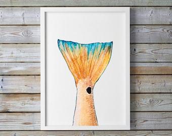 Watercolor Fish, Fish Wall Art, Red Fish, Fish Painting, Fish Print, Coastal Art, Fisherman Gift, Fishing Decor, Fish Art Print, Angler Gift