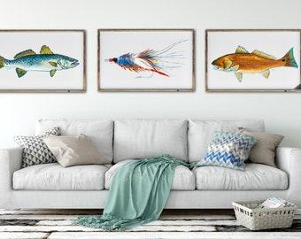 Gallery Wall Set, Fish Art Print Sets, Discounted Prints, Coastal Decor