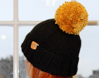 9e89d330a76 Black   Mustard Bobble Hat ~ beanie