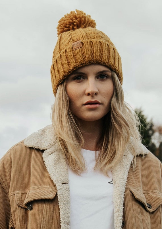 Bobble Hat in Mustard ~ woolly hat, bobble hat, winter hat, beanie hat, unisex, mens hats, womens hats, mustard bobble,  knitted hat