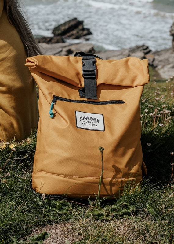 Mustard Recycled UNISEX Roll top Junkbox Rucksack ~ college bag, school bag, backpack, travel bag, mens bag, ladies bag, cabin bag