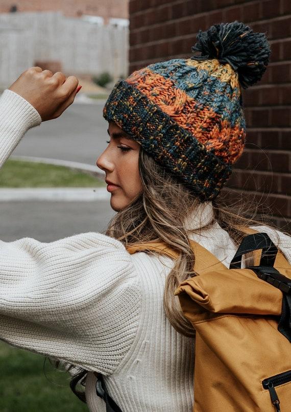 Corkscrew Bobble Hat in Blue & Orange  ~ woolly hat, bobble hat, winter hat, beanie hat, unisex, mens hats, womens hats, knitted bobble