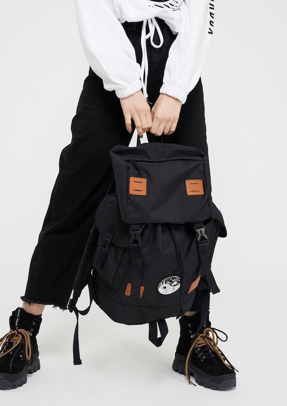 Junkbox Yin & Yang UNISEX explorer backpack in Black ~ rucksack, travel bag, holiday bag, unisex bag, black rucksack, cabin bag, travelling