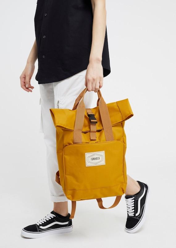Mustard UNISEX twin handle Roll top Junkbox Rucksack ~ college bag, school bag, backpack, travel bag, mens bag, ladies bag, cabin bag