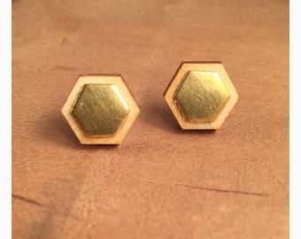 Handmade laser cut wood and brass hexagon titanium post earrings. Brass on wood hexagon stud earrings. Hexagon titanium post earrings.