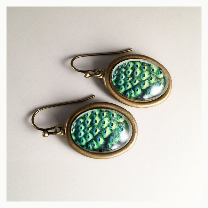 fc46f4afe Peacock Feather glass domed cabochon vintage brass earrings.   Etsy