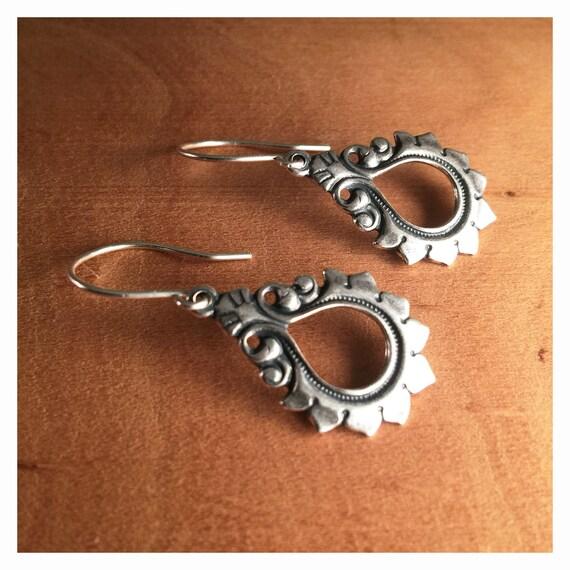 Silver Leaf Earrings \u2013 Art Deco Silver