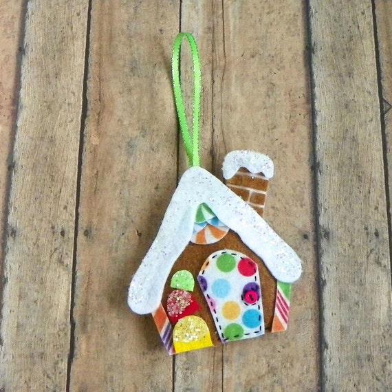 Whimsical Felt Gingerbread House Christmas Tree Ornament