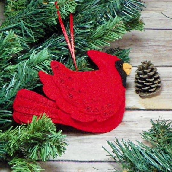 Cardinal Christmas Ornament Felt Cardinal Christmas Ornament Etsy